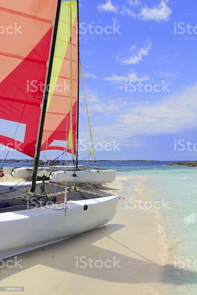 Hobie cat catamaran formentera beach Illetas royalty-free stock photo