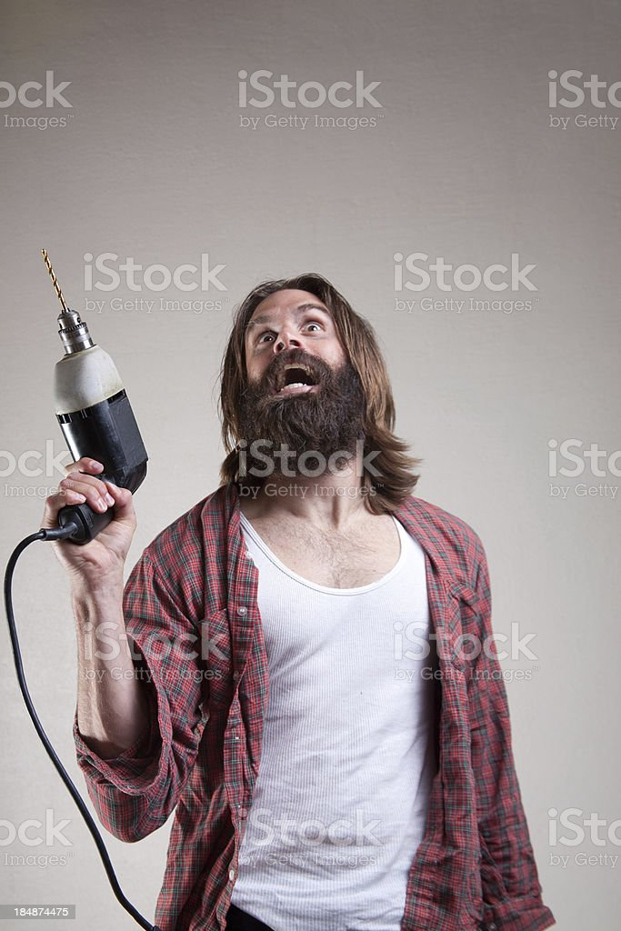 Hobo: Crazy With Power Tools stock photo