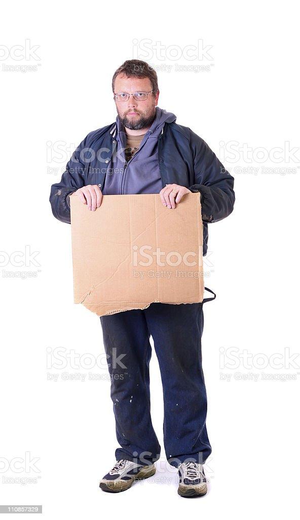hobo with cardboard sign stock photo