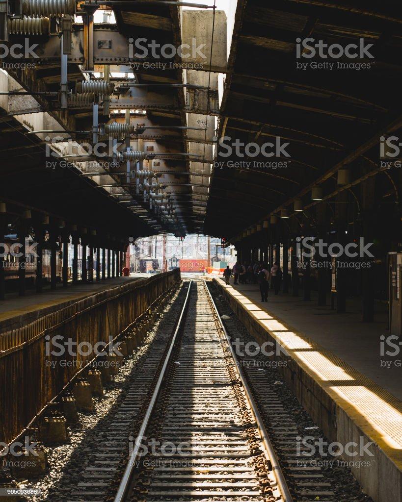Hoboken Train Station Tracks and Platform zbiór zdjęć royalty-free