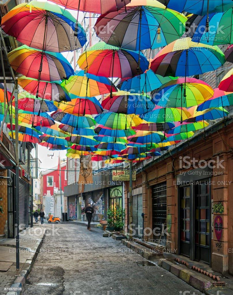 Hoca Tahsin Street at Karakoy district, Istanbul, Turkey, decorated with colorful umbrellas stock photo
