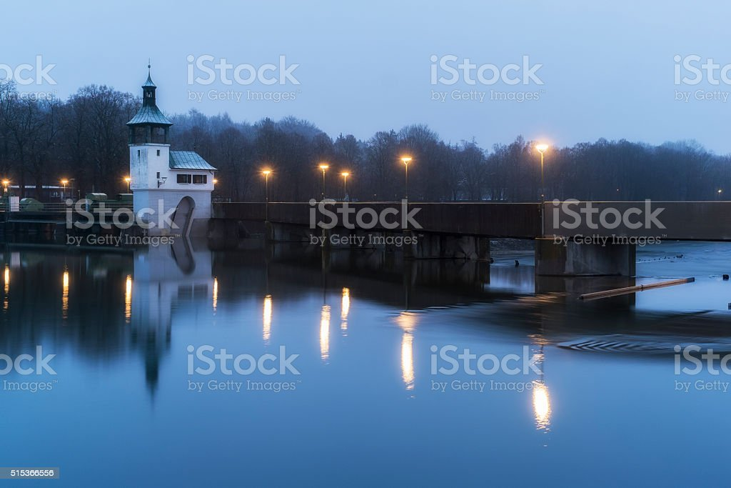 Hochablass illuminated in Augsburg at sunrise stock photo