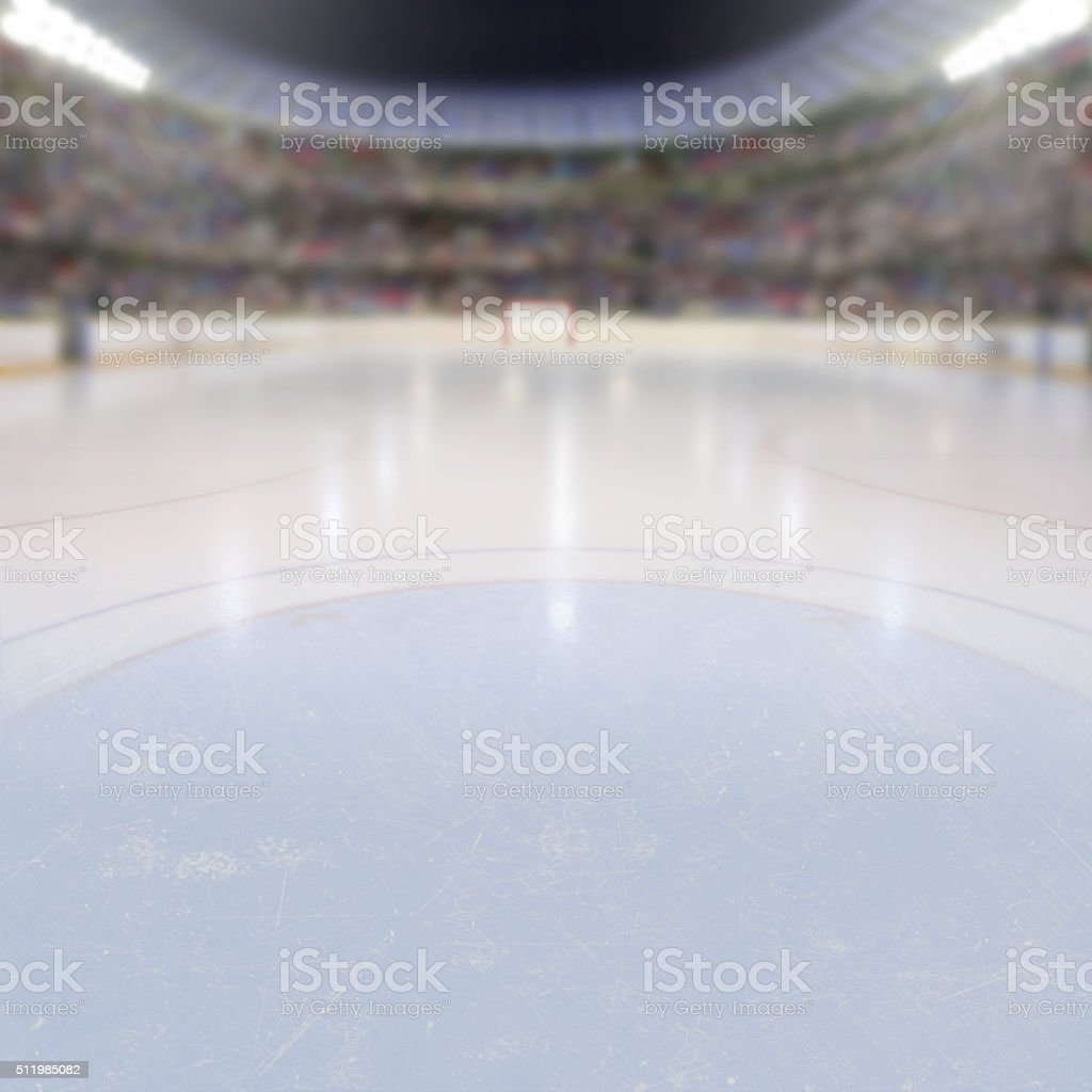 Hockey Arena With Fans in the Stands and Copy Space stock photo