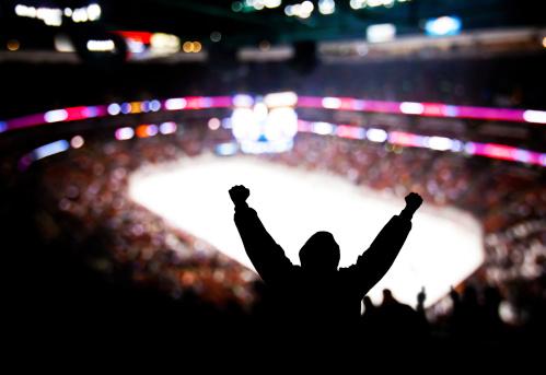 Eccitazione Di Hockey - Fotografie stock e altre immagini di Ambientazione interna