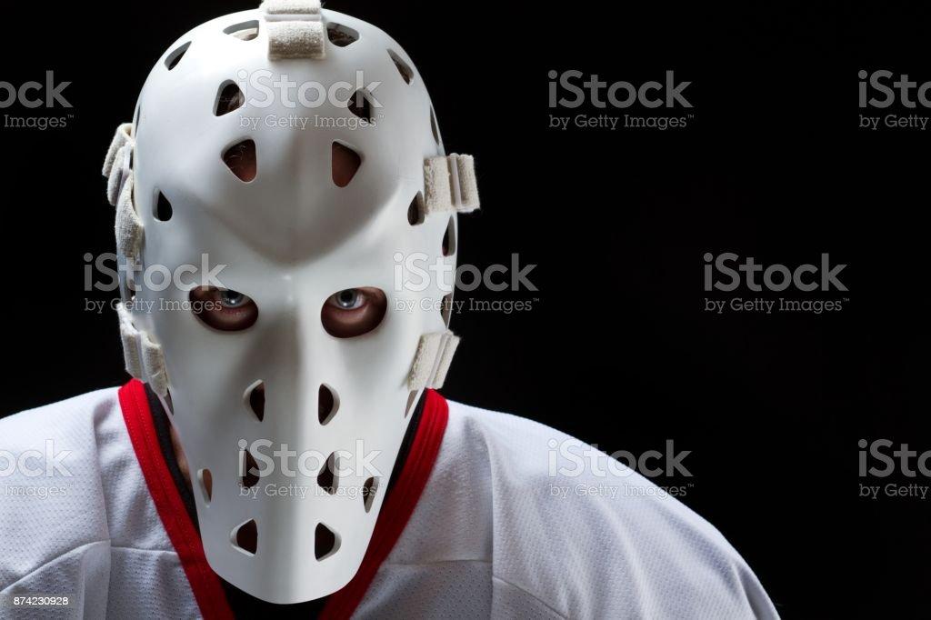 Hockey goalie vintage stock photo