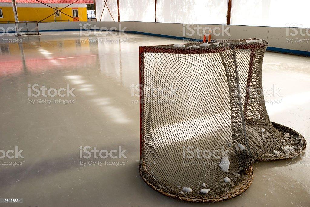 Rete di hockey su ghiaccio, patinoire inverno ice-rink foto stock royalty-free