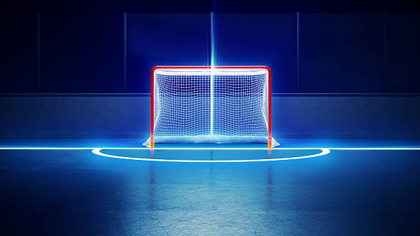 hockey ice rink and goal - hockey stock pictures, royalty-free photos & images
