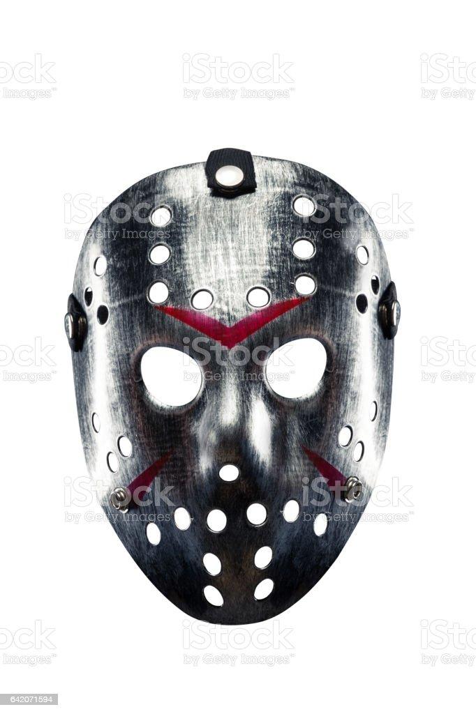 Hockey mask of serial killer isolated on white stock photo