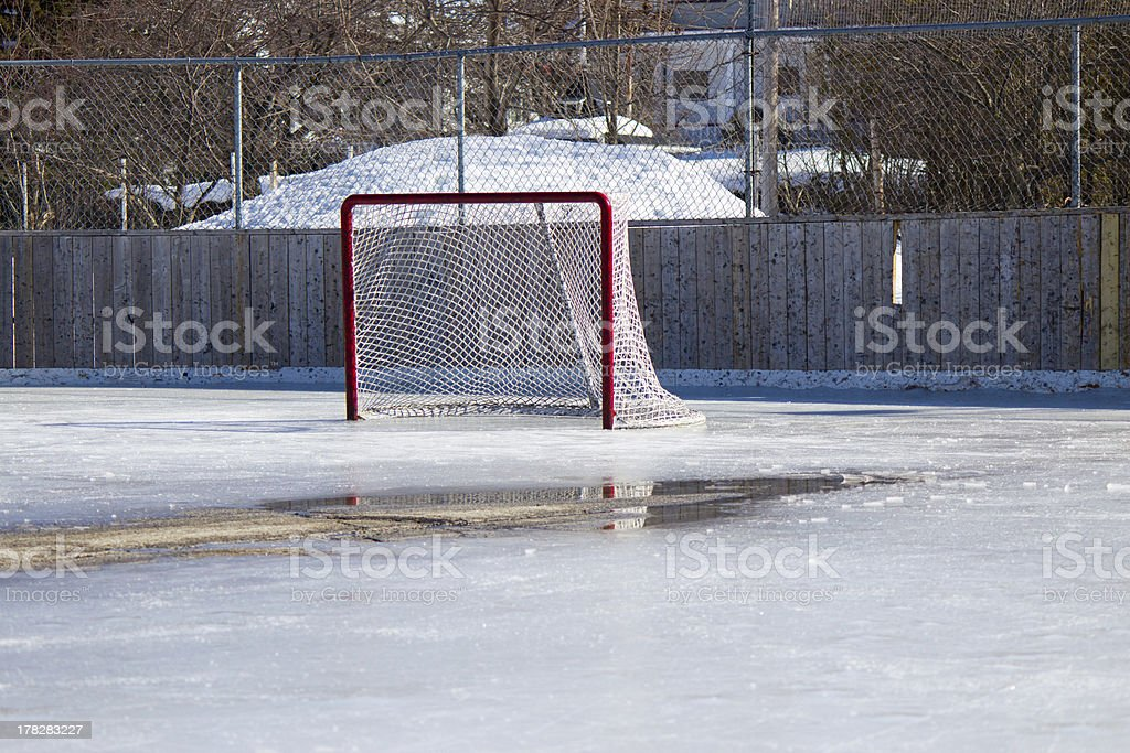 Hockey net on melting ice at the rink royalty-free stock photo