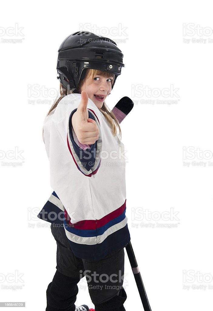 hockey player girl happy winner children royalty-free stock photo