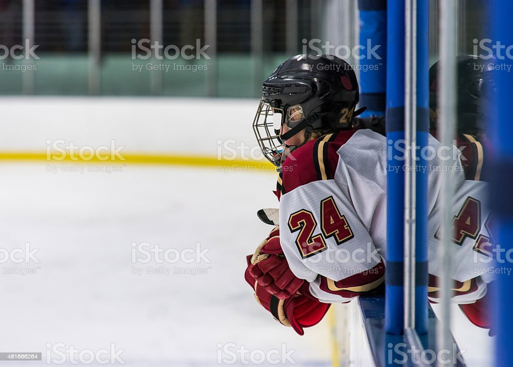 Hockey Player in Penalty Box stock photo