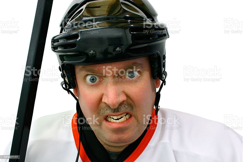 Hockey Player in the Penalty Box stock photo