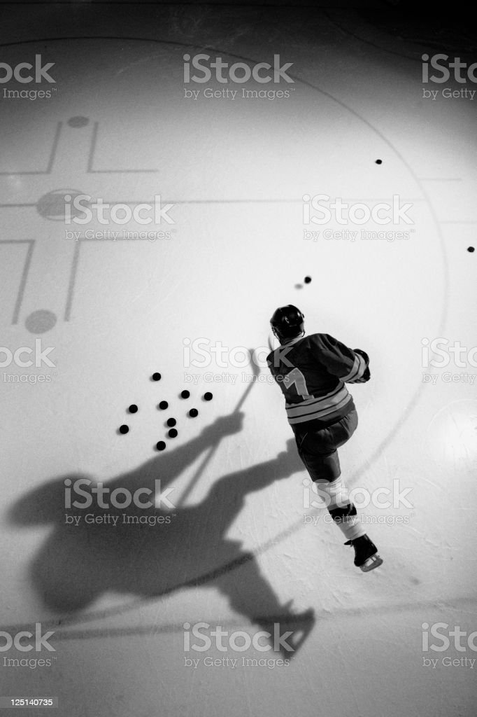 Hockey Player Practicing royalty-free stock photo