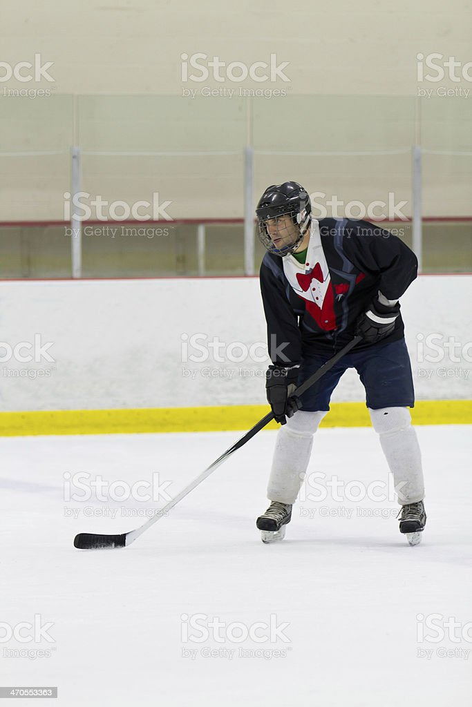 Hockey player ready for the face-off royalty-free stock photo