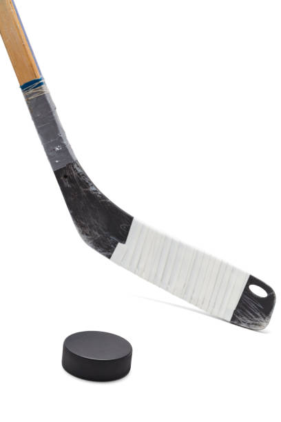 hockey puck and stick - hockey stick stock pictures, royalty-free photos & images