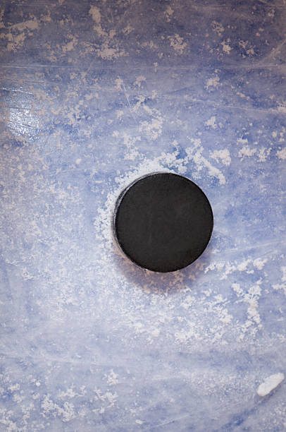 hockey puck on the blue line - hockey puck stock photos and pictures