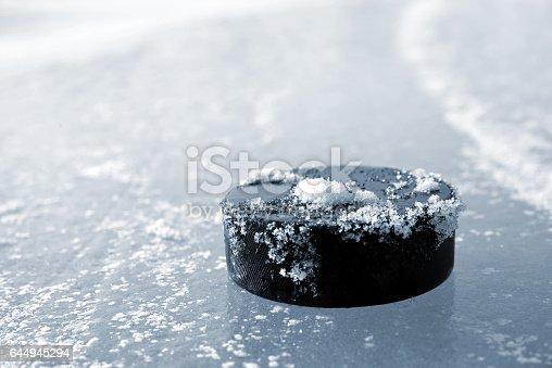 istock Hockey puck 644945294