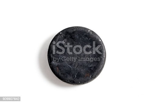 Close up shot of a hockey puck on a white background