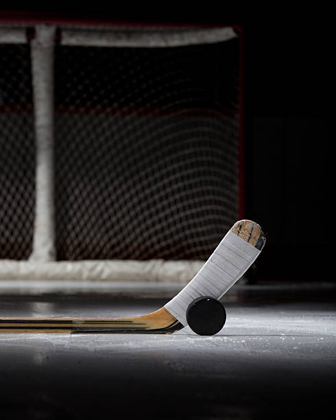 hockey puck, stick, and net - hockey stick stock pictures, royalty-free photos & images