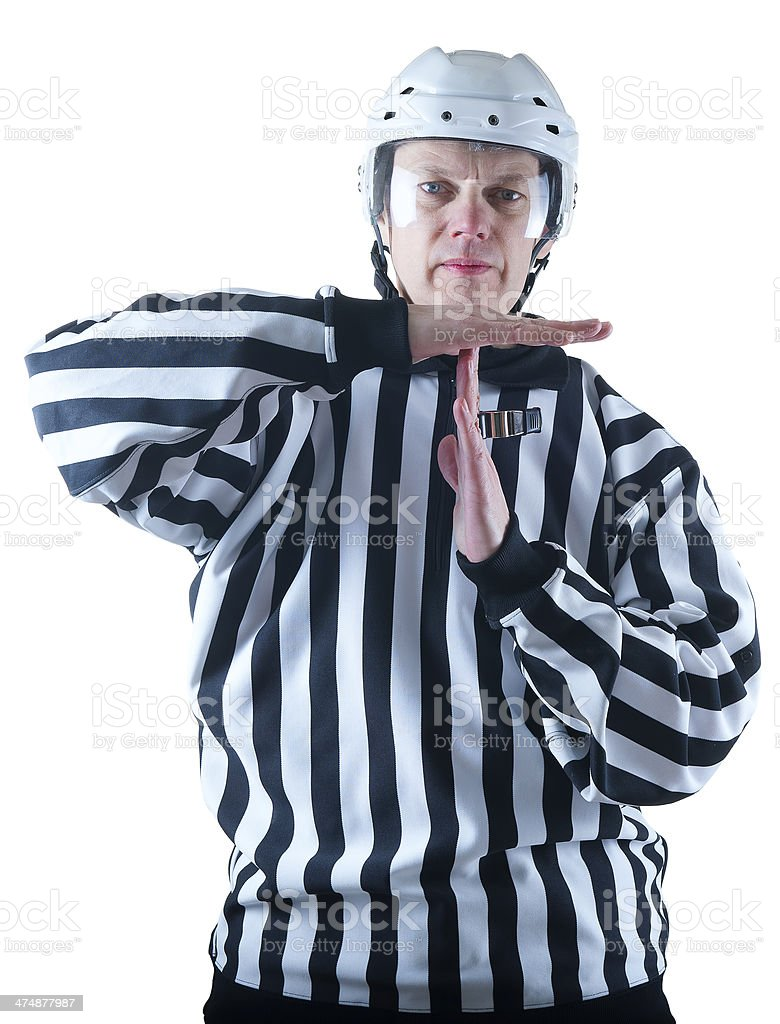 Hockey referee demonstrate timeout gesture royalty-free stock photo