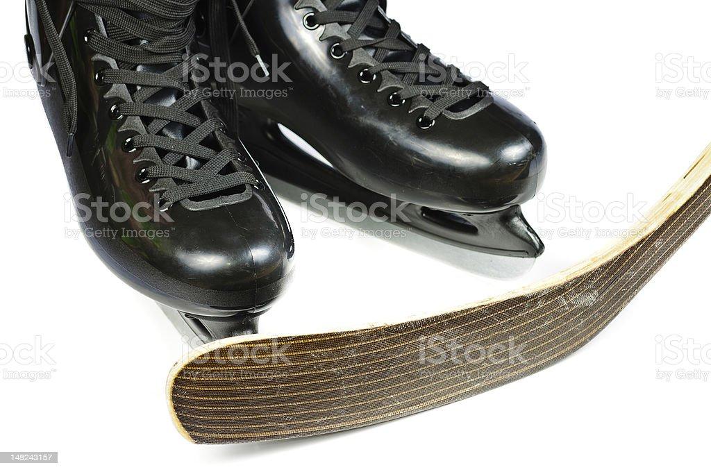 Hockey skates and stick royalty-free stock photo