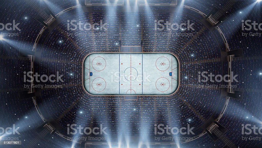 Hockey stadium arena bird eye view stock photo