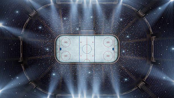 Estádio de Hockey arena de pássaros olho vista - foto de acervo