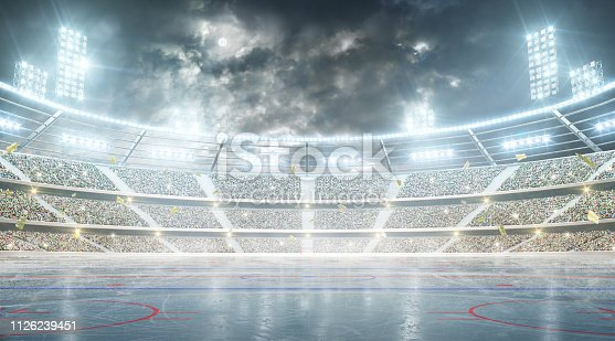 istock Hockey stadium. Ice hockey arena. Night stadium under the moon with lights, fans and flags 1126239451