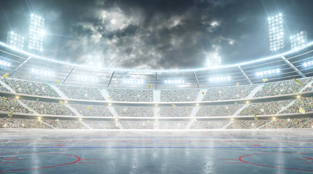 hockey stadium. ice hockey arena. night stadium under the moon with lights, fans and flags - hockey stock pictures, royalty-free photos & images