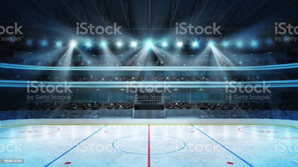 hockey stadium with fans crowd and an empty ice rink stock photo