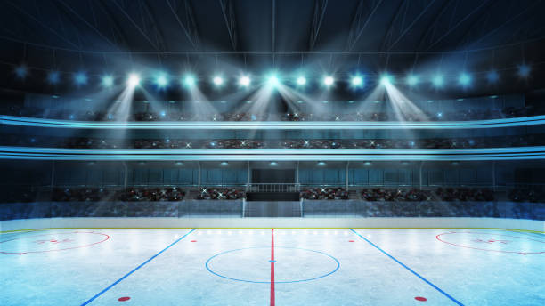 hockey stadium with fans crowd and an empty ice rink - hockey foto e immagini stock