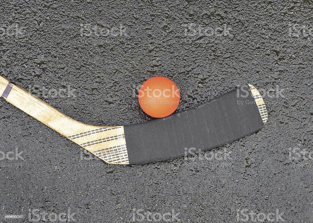 Hockey Stick and Ball stock photo