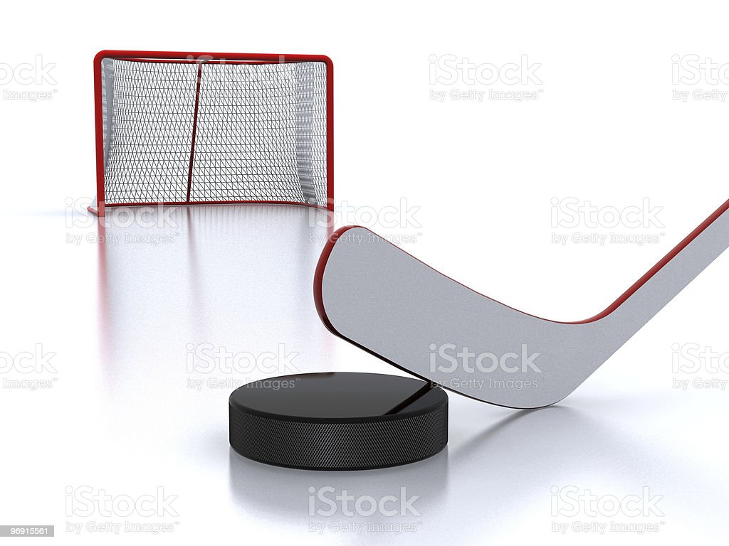 Hockey stick,puck and goal royalty-free stock photo