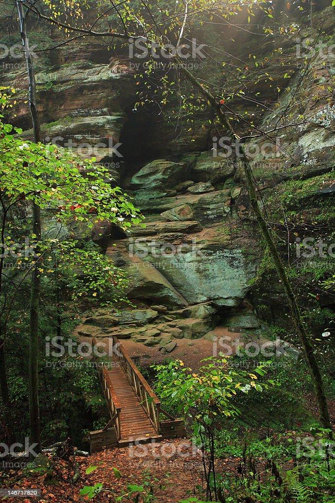 Hocking hills bridge stock photo