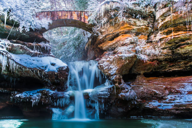 Hocking Hills Ohio in Winter Hocking Hills Ohio in winter ohio stock pictures, royalty-free photos & images