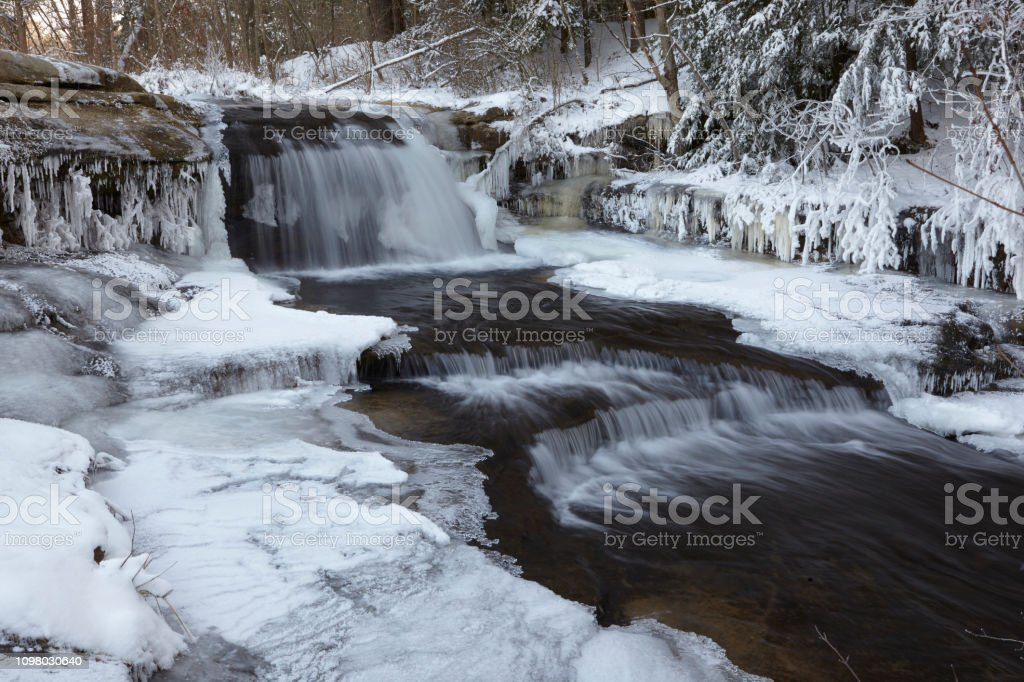 Hocking Hills State Park after a winter storm stock photo