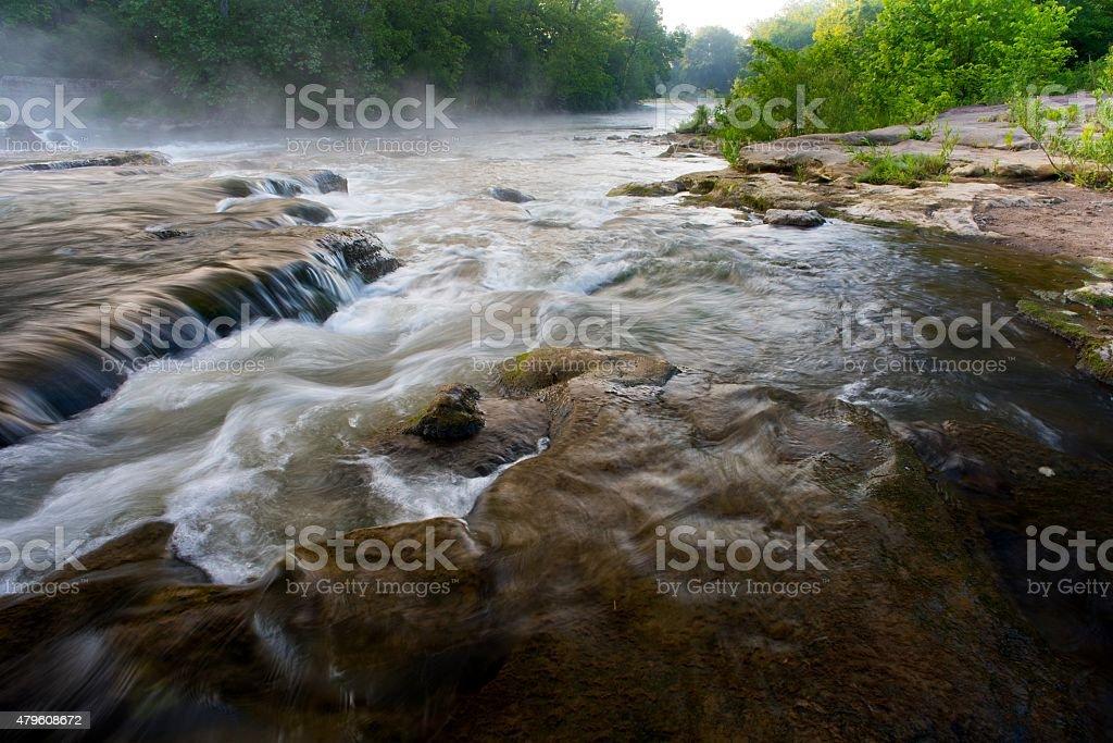Hocking River at Sunrise in Ohio stock photo