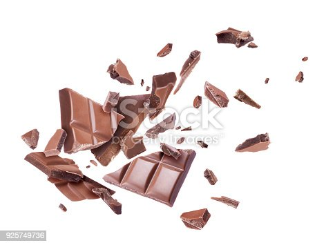 istock Ð¡hocolate broken into pieces in the air, isolated on a white background 925749736