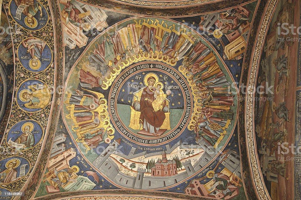 Hodegetria - frescos from Horezu monastery royalty-free stock photo
