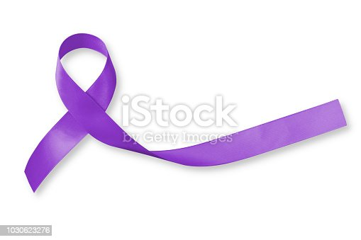 istock Hodgkin's lymphoma and testicular cancer awareness violet ribbon symbolic bow color on white background (isolated with clipping path) 1030623276