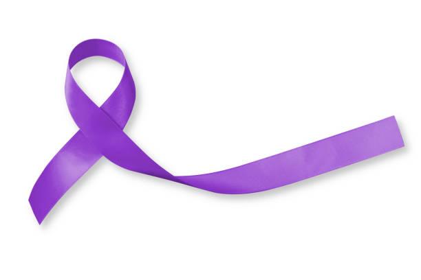 hodgkin lymfoom en testiculaire kanker bewustzijn violet lint symbolische boog kleur op witte achtergrond (geïsoleerd met uitknippad) - paars stockfoto's en -beelden