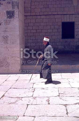 Jerusalem, Israel, 1977. Temple Mount in Jerusalem. Cleric (Hodja) on the way to the mosque.