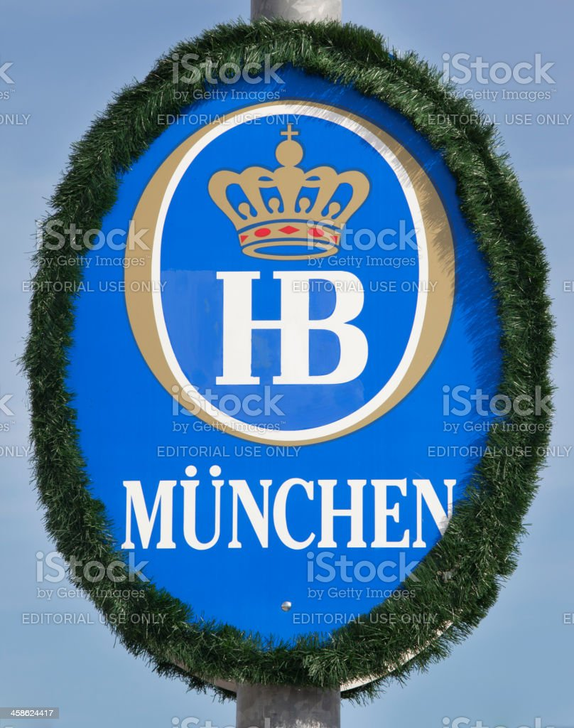 Hofbraeu Brewery Logo at Munich Oktoberfest stock photo
