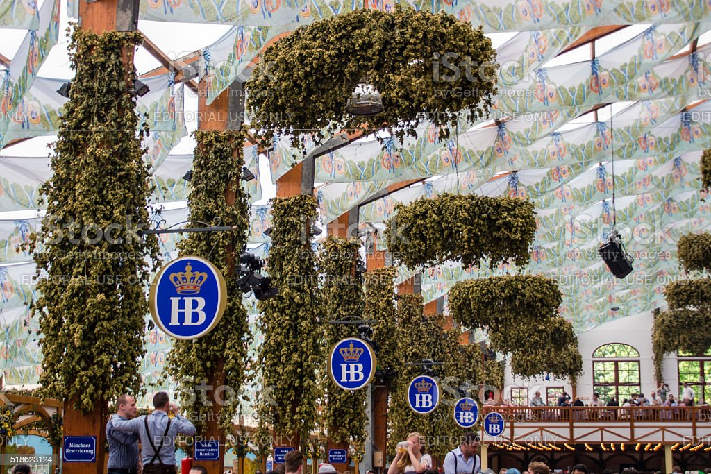 Hofbraeu tent at Oktoberfest in Munich, Germany, 2015 stock photo