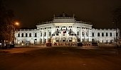 Night view of the Hofburg theater. Vienna, Austria. December 06, 2020.