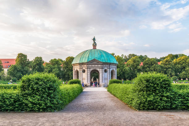 Hofgarten Park with Dianatempel in Munich. stock photo