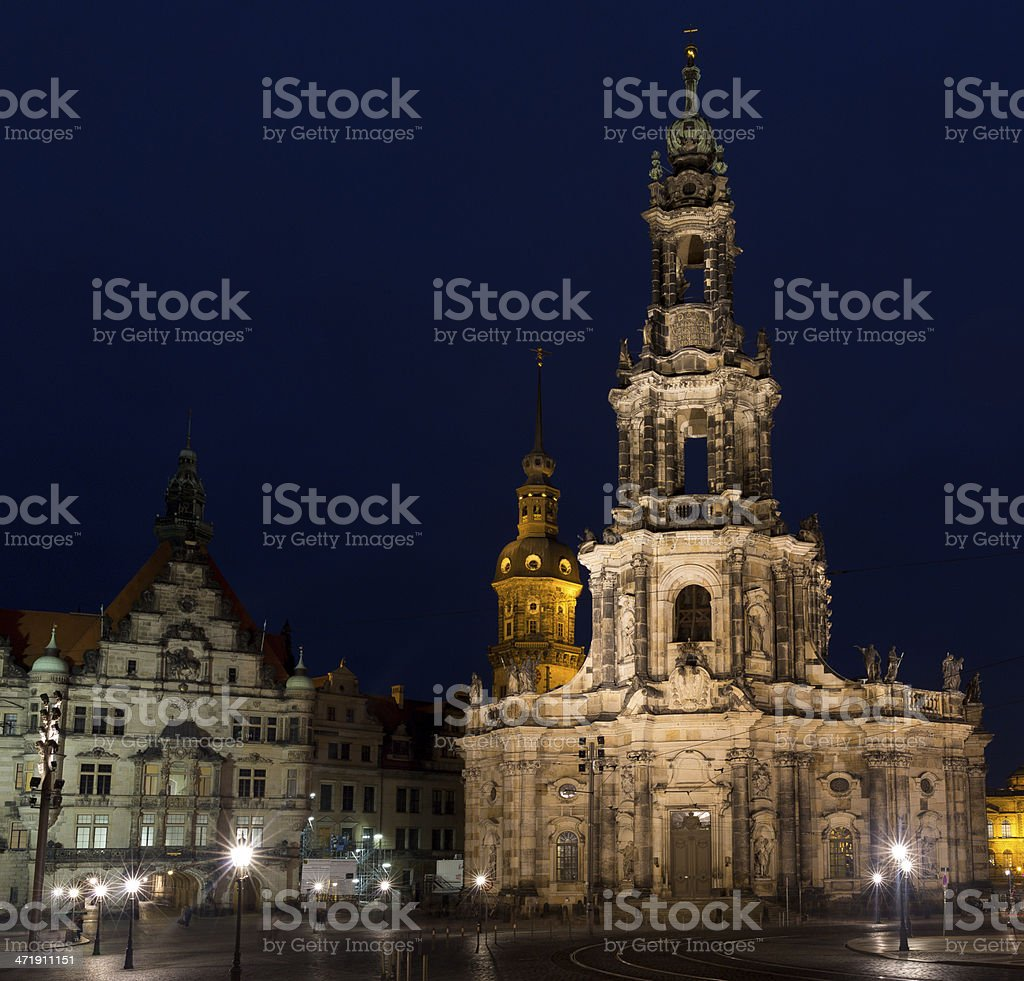 Hofkirche Dresden by Night royalty-free stock photo