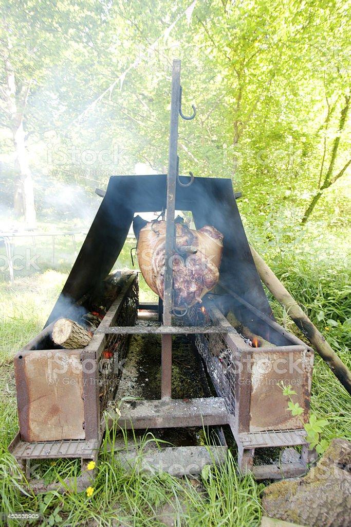 Hog roast stock photo