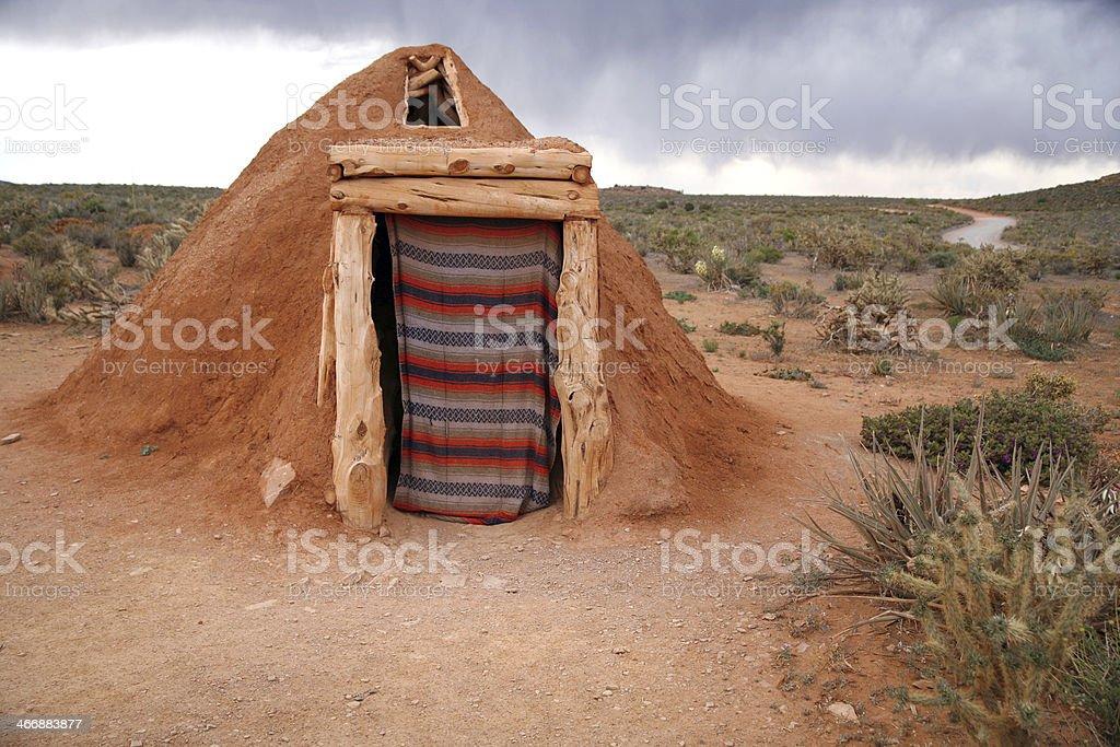 Hogan -Navajo native indian house stock photo