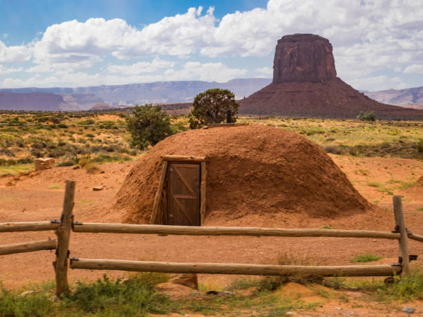 Hogan, traditional home of the Navajo people stock photo